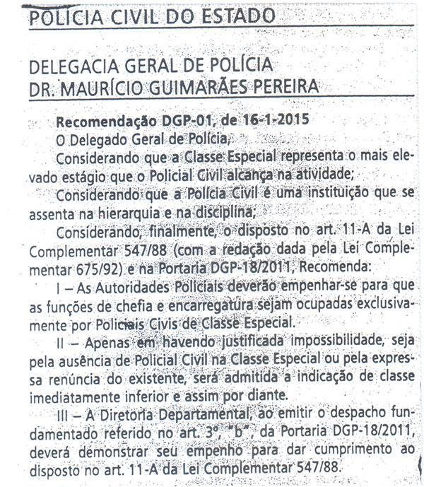 Recomendação DGP-01, de 16/01/2015