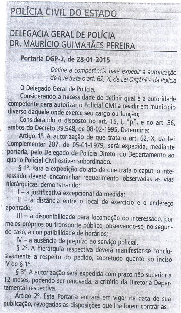 Portaria DGP-2, de 28/01/2015