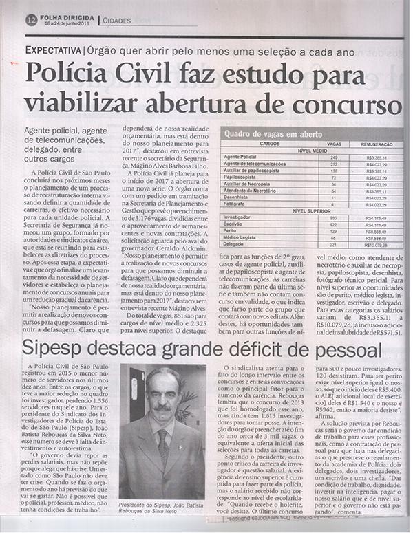 SIPESP na Folha Dirigida